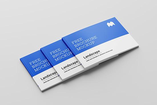 Free perfect binding landscape brochure mockup