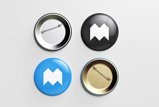 Free pin button mockup