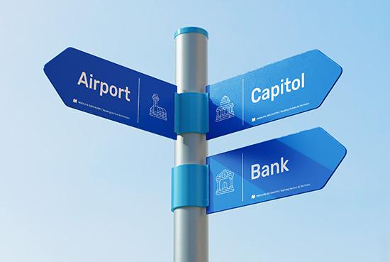 Free direction sign mockup