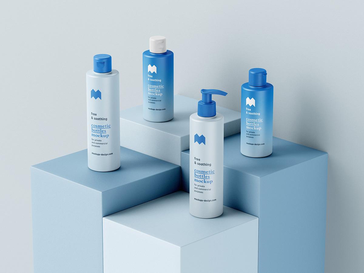 Free cosmetic bottles mockup