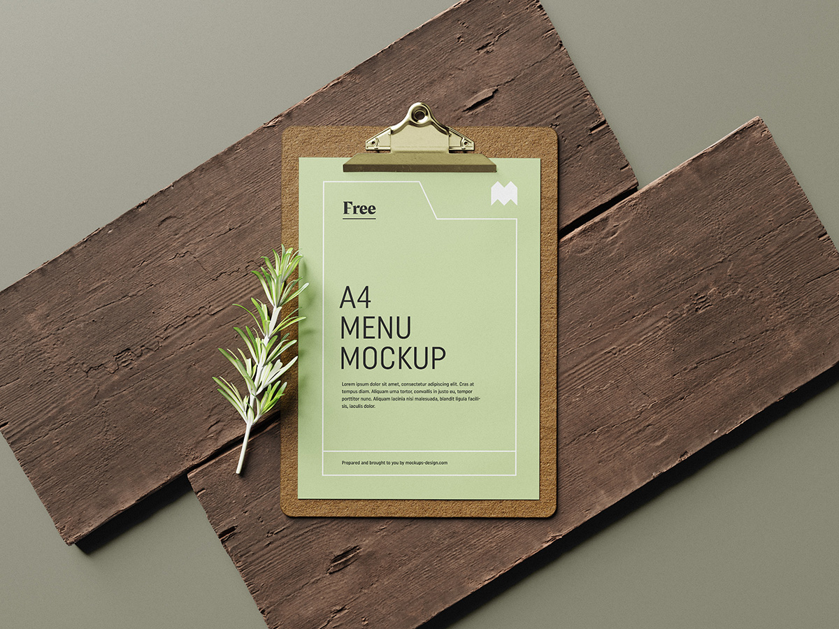 Free menu mockup