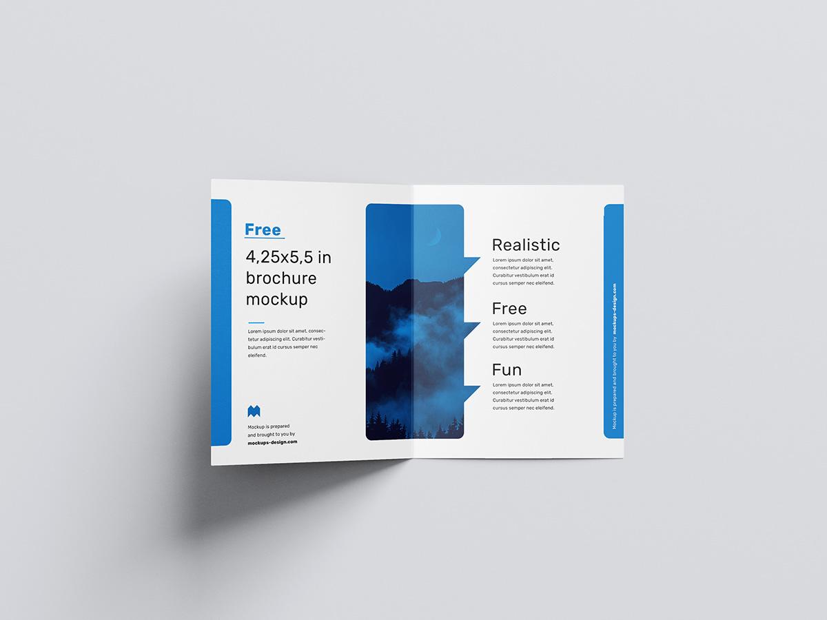 Free bifold brochure mockup / 4.25 x 5.5 in