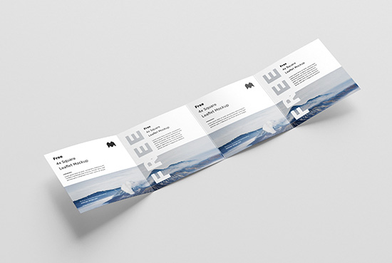 Free square 4-fold leaflet mockup