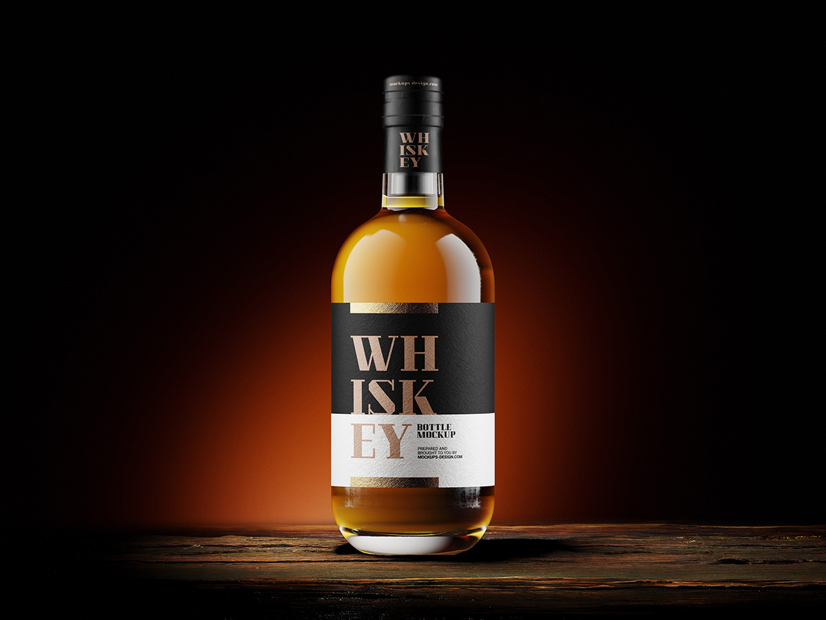 Free whisky bottle mockup