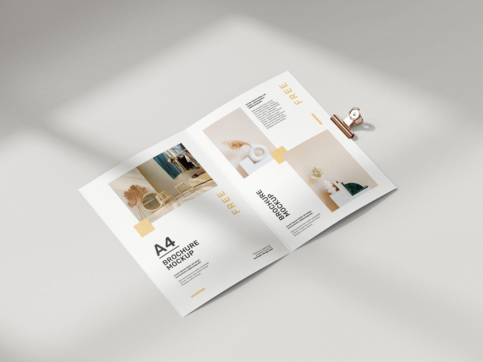 Free folded A4 brochure mockup