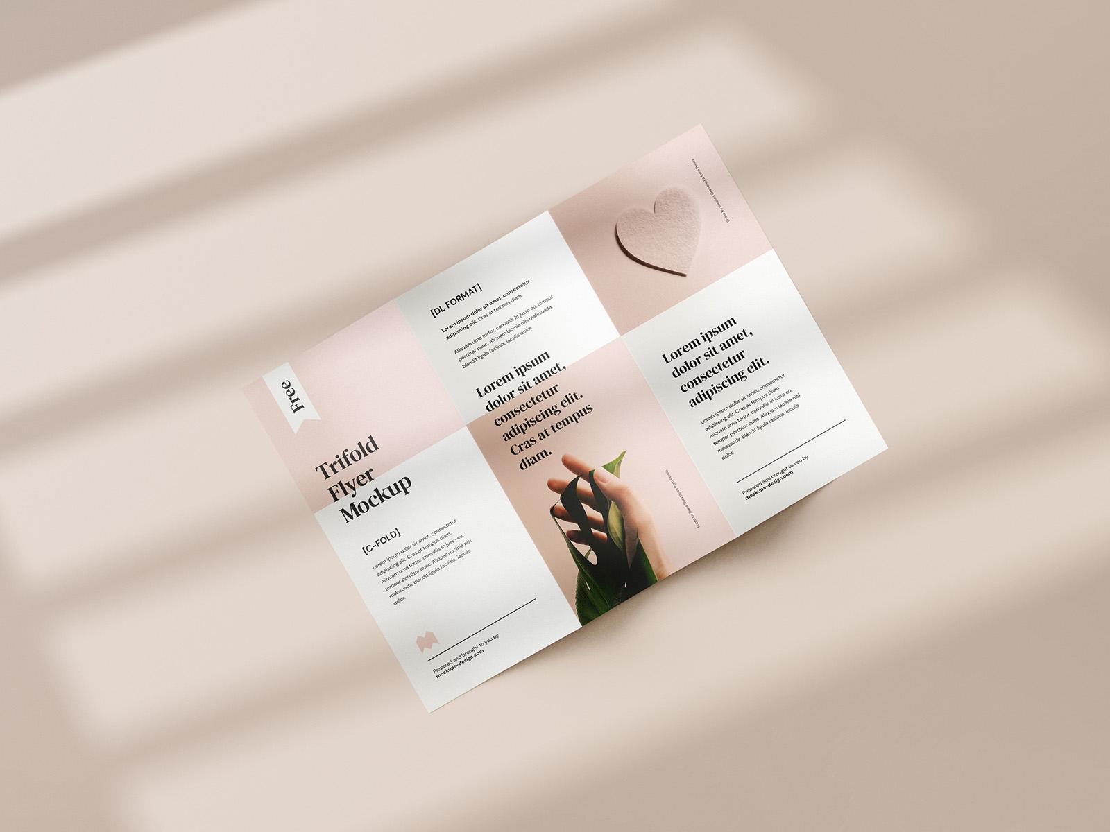 Free tri-fold DL flyer mockup