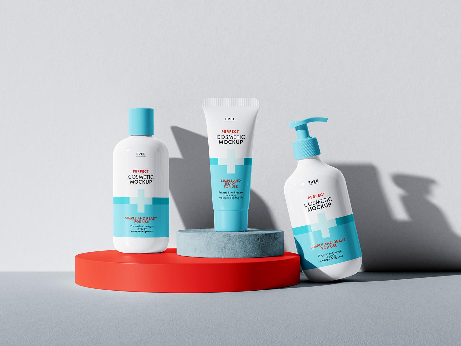Free set of cosmetics mockup
