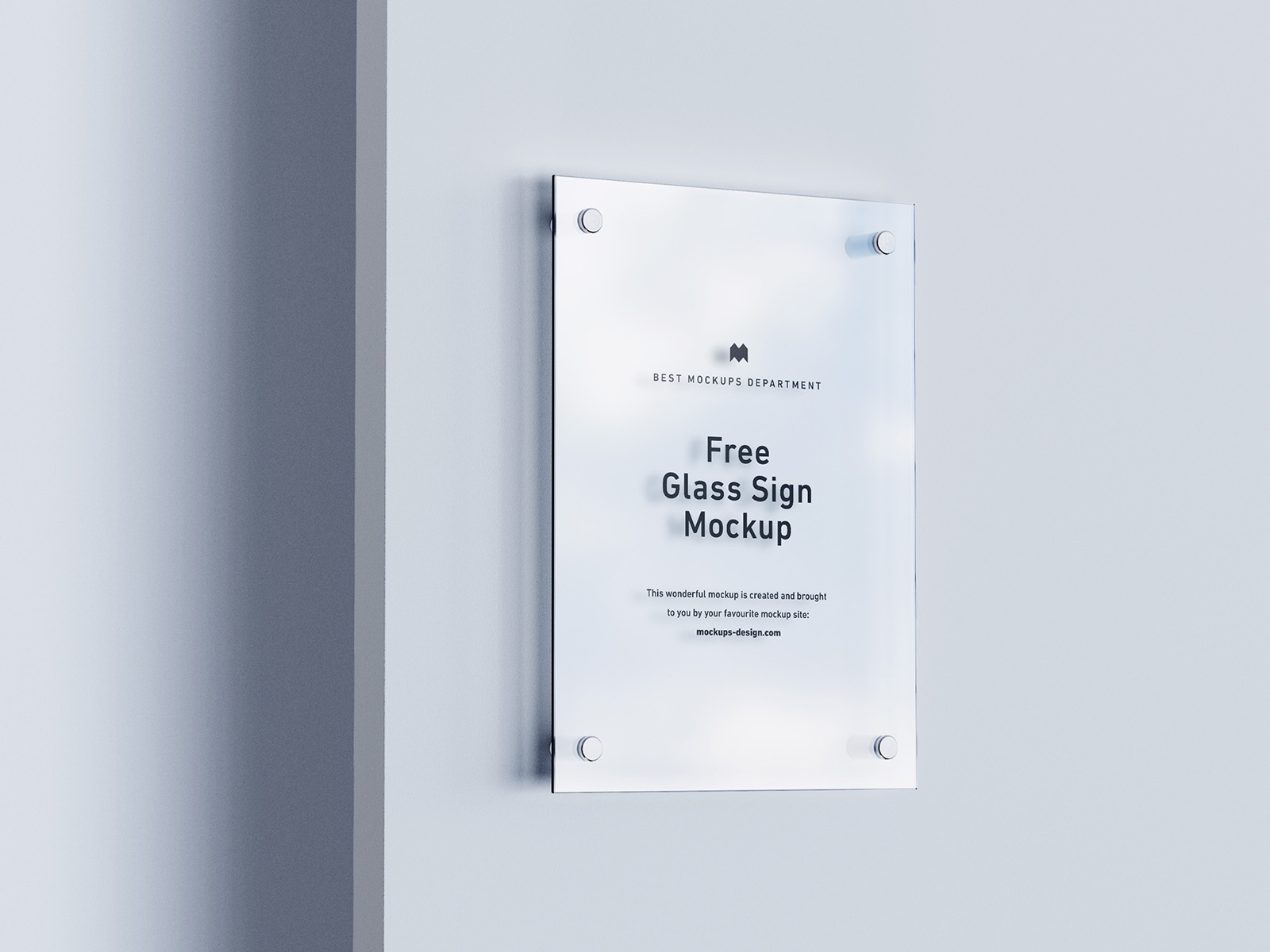 Free glass sign mockup
