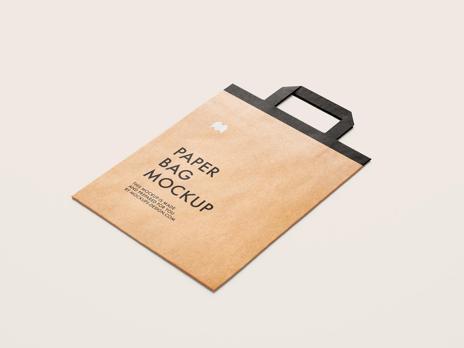 Free flattened paper bag mockup