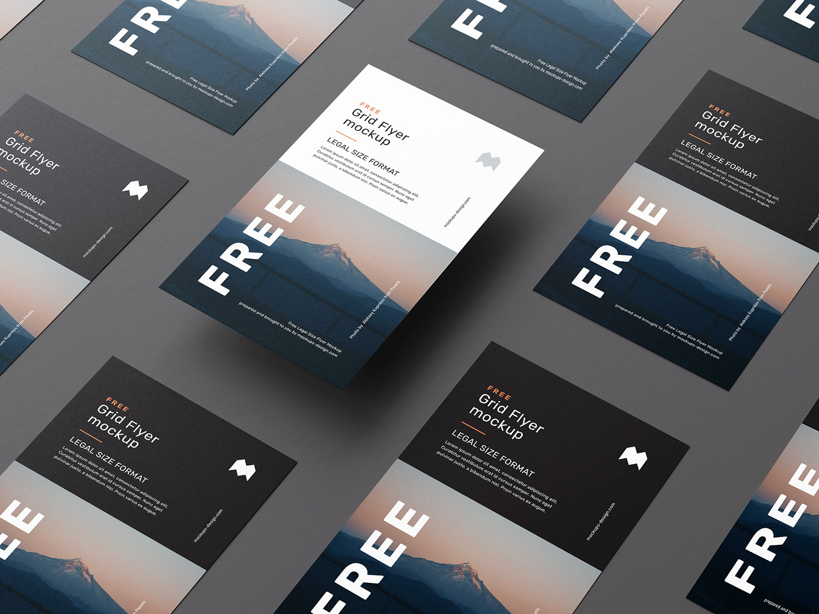 Free legal size flyer grid mockup