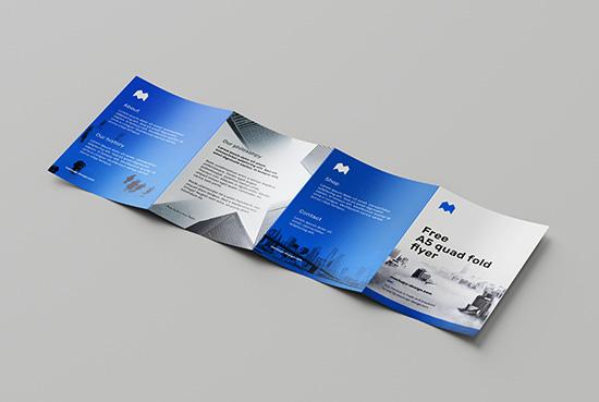 Free A5 quad fold flyer mockup