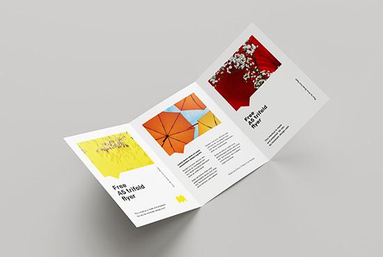 Free A5 tri-fold flyer mockup