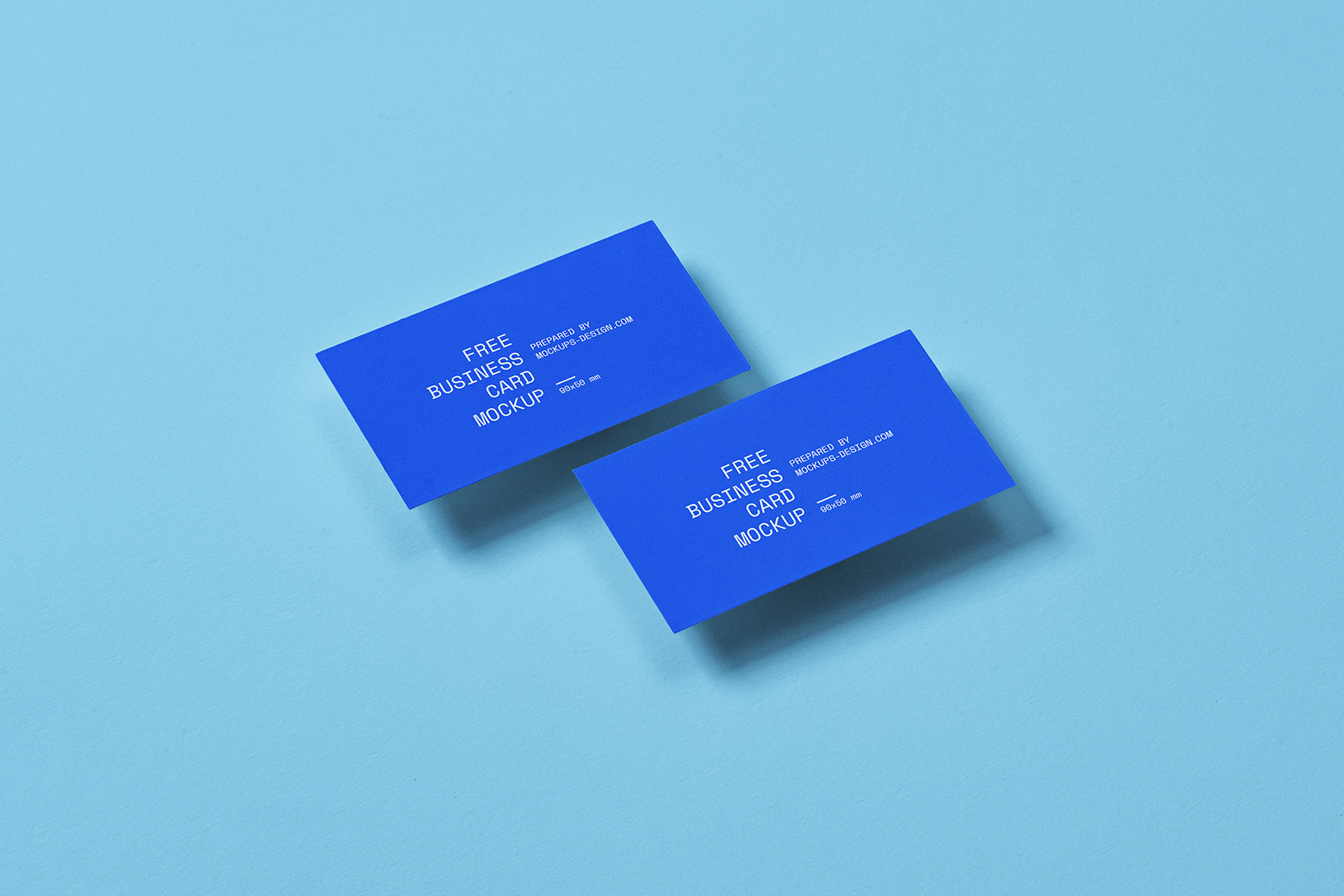 Business card mockup in 90x50mm format