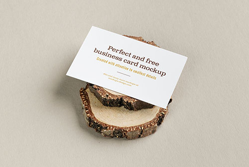 Free business card on wooden trunks mockup