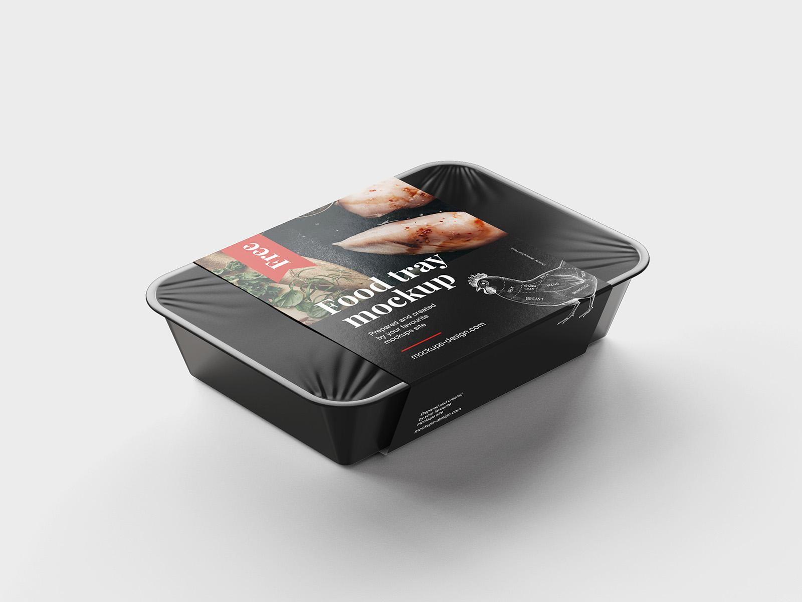 Free food tray mockup