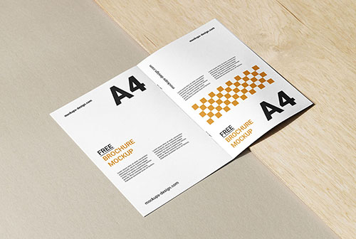 A4 brochure with wood and paper mockup