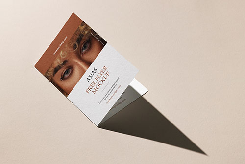 Free bi fold flyer with strong shadow mockup