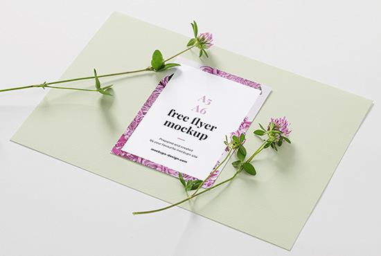 A6 flyer with flowers mockup