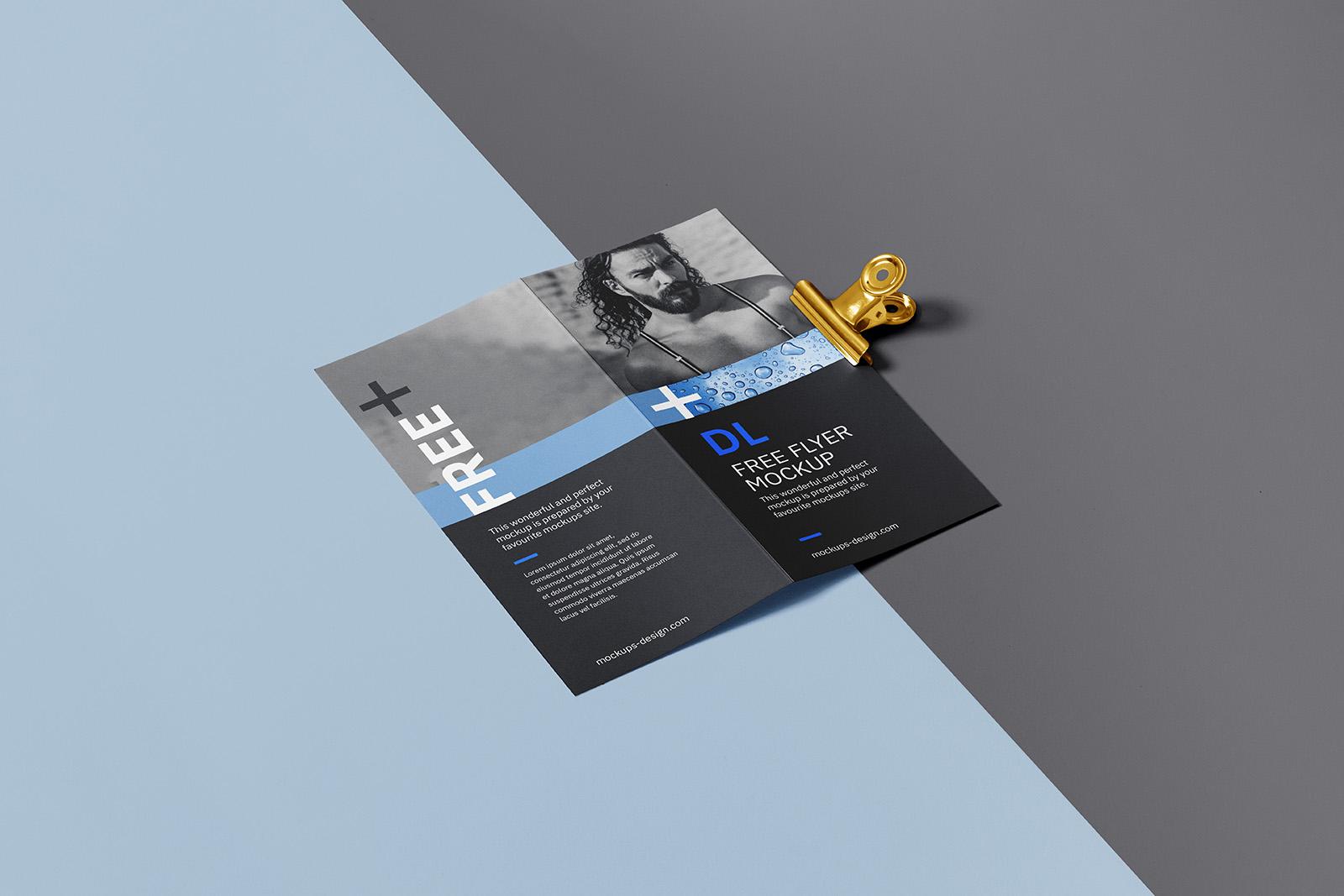 Bi fold DL flyer with a clip mockup