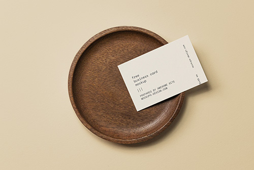 Business card in a bowl mockup