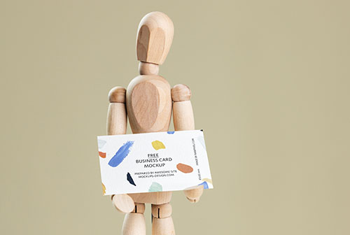 Business card with drawing maninkin mockup