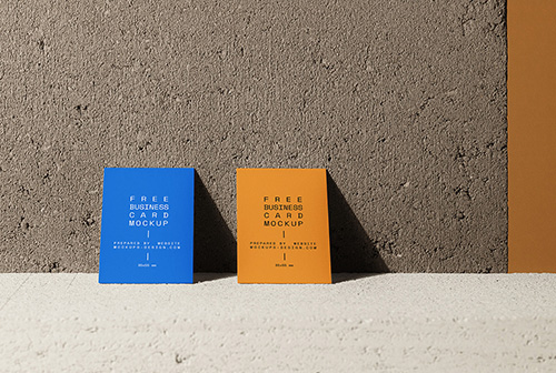 Business cards on a concrete mockup