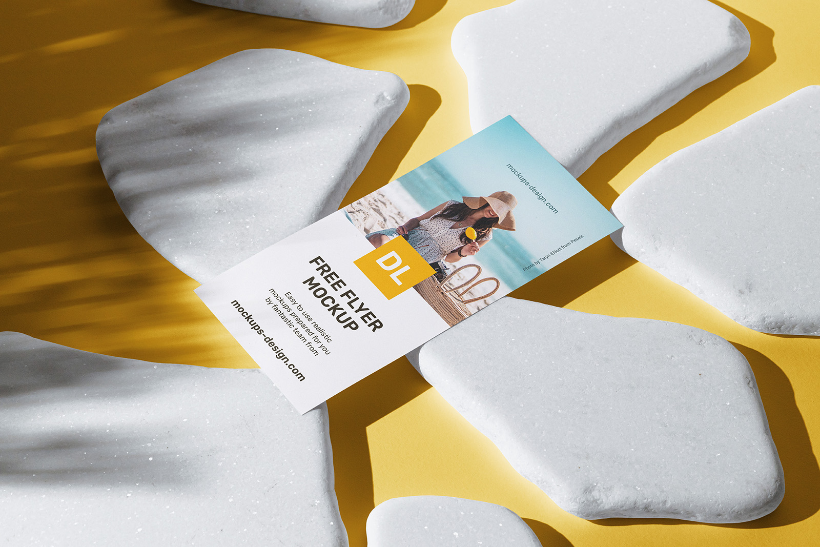 DL flyer with white stones mockup