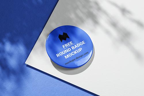 Free round badge mockup