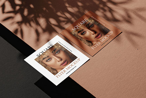 Square flyers and the strong shadows mockup