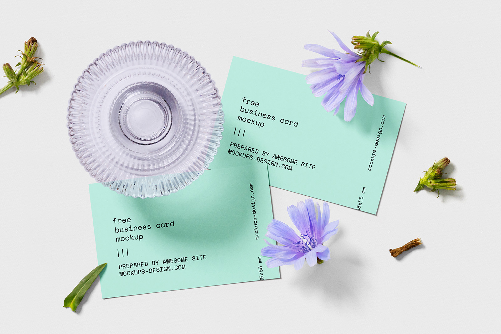 Business card with flowers mockup