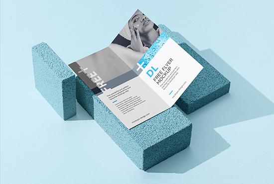 Bi fold DL flyer on a stone mockup