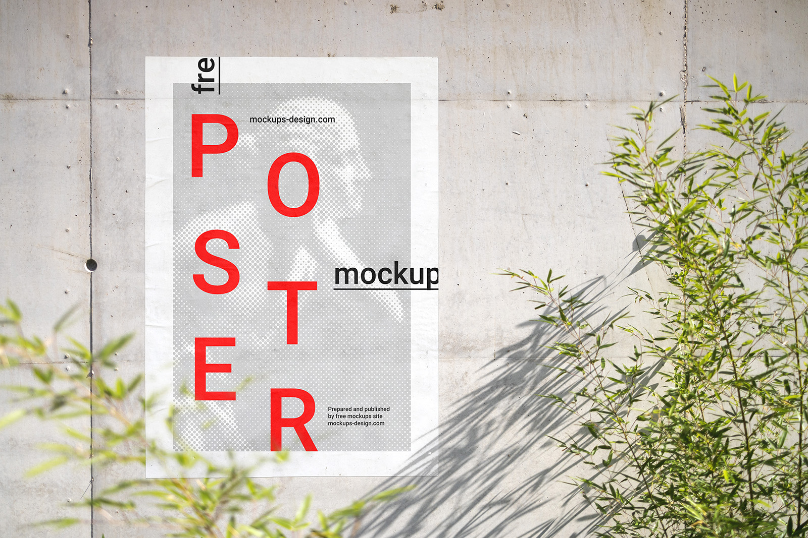 Poster on concrete wall mockup